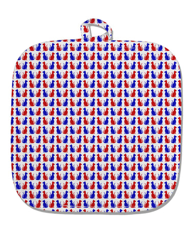 Patriotic Cat Pattern White Fabric Pot Holder Hot Pad All Over Print
