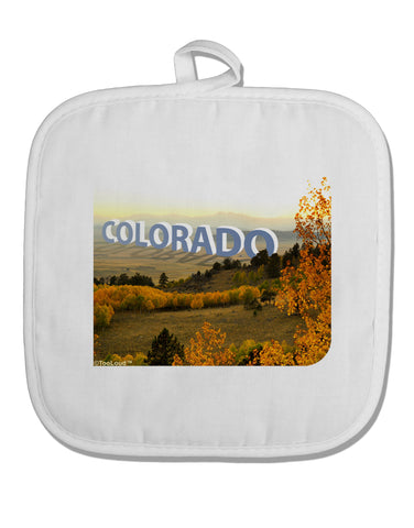 Colorado Postcard Gentle Sunrise White Fabric Pot Holder Hot Pad by TooLoud