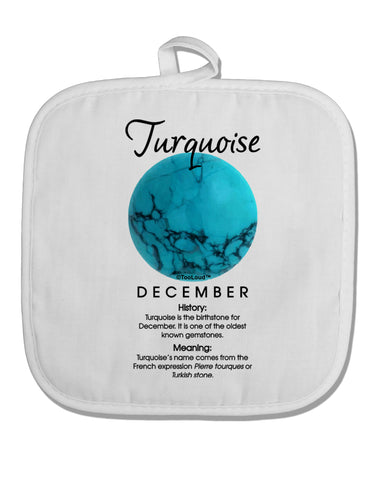 Birthstone Turquoise White Fabric Pot Holder Hot Pad by TooLoud