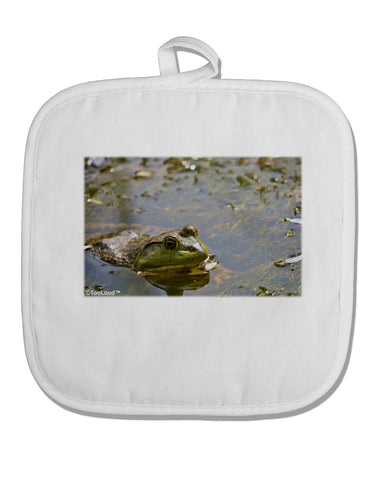 Bullfrog In Water White Fabric Pot Holder Hot Pad by TooLoud