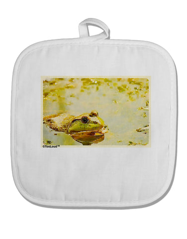 Bullfrog In Watercolor White Fabric Pot Holder Hot Pad by TooLoud