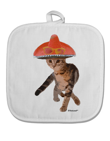 Cat with Sombrero and Sunglasses White Fabric Pot Holder Hot Pad by TooLoud