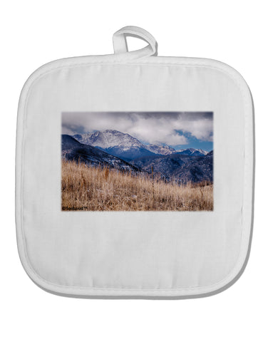 Pikes Peak CO Mountains White Fabric Pot Holder Hot Pad by TooLoud