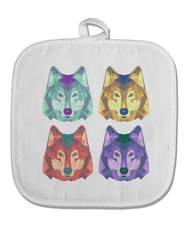 Geometric Wolf Head Pop Art White Fabric Pot Holder Hot Pad by TooLoud