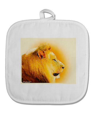 Lion Watercolor 3 White Fabric Pot Holder Hot Pad
