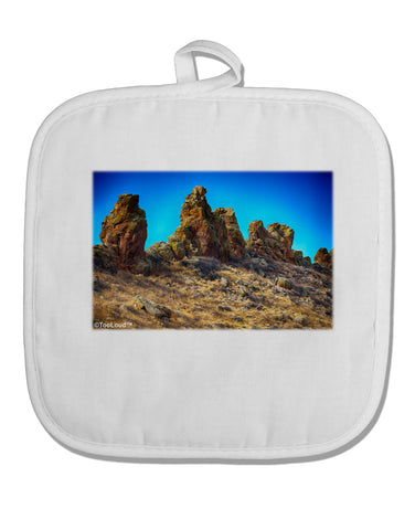 Crags in Colorado White Fabric Pot Holder Hot Pad by TooLoud