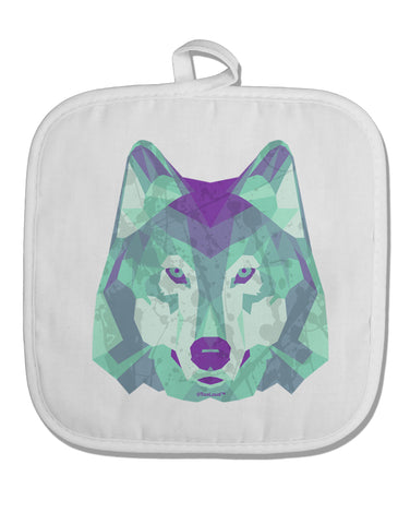 Geometric Wolf Head White Fabric Pot Holder Hot Pad by TooLoud