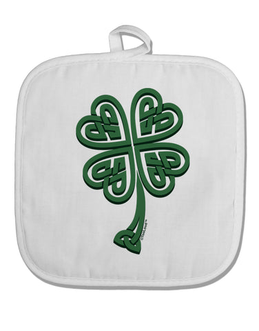 3D Style Celtic Knot 4 Leaf Clover White Fabric Pot Holder Hot Pad