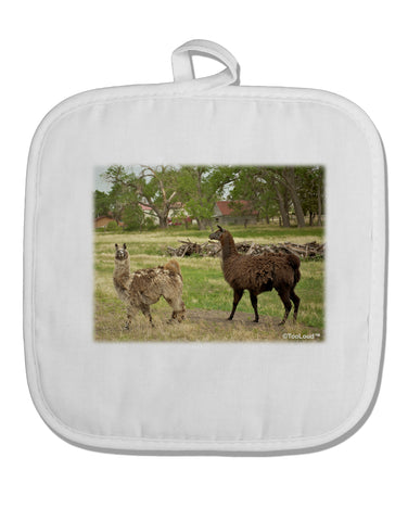Standing Llamas White Fabric Pot Holder Hot Pad by TooLoud