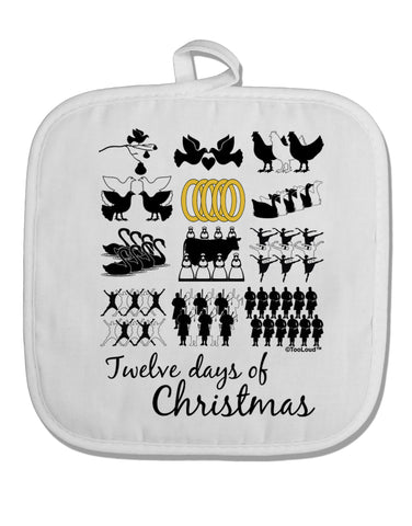 12 Days of Christmas Text Color White Fabric Pot Holder Hot Pad