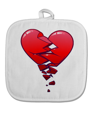Crumbling Broken Heart White Fabric Pot Holder Hot Pad by TooLoud