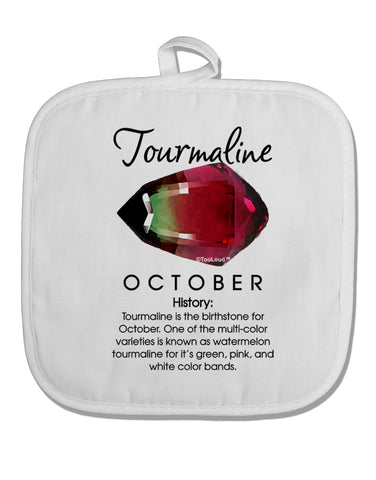 Birthstone Tourmaline White Fabric Pot Holder Hot Pad by TooLoud