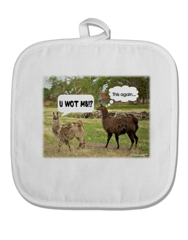 Angry Standing Llamas White Fabric Pot Holder Hot Pad by TooLoud