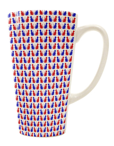 Patriotic Cat Pattern 16 Ounce Conical Latte Coffee Mug All Over Print