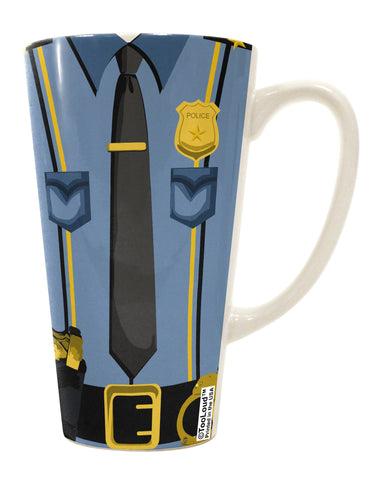 Police Blue-Gold AOP 16 Ounce Conical Latte Coffee Mug All Over Print
