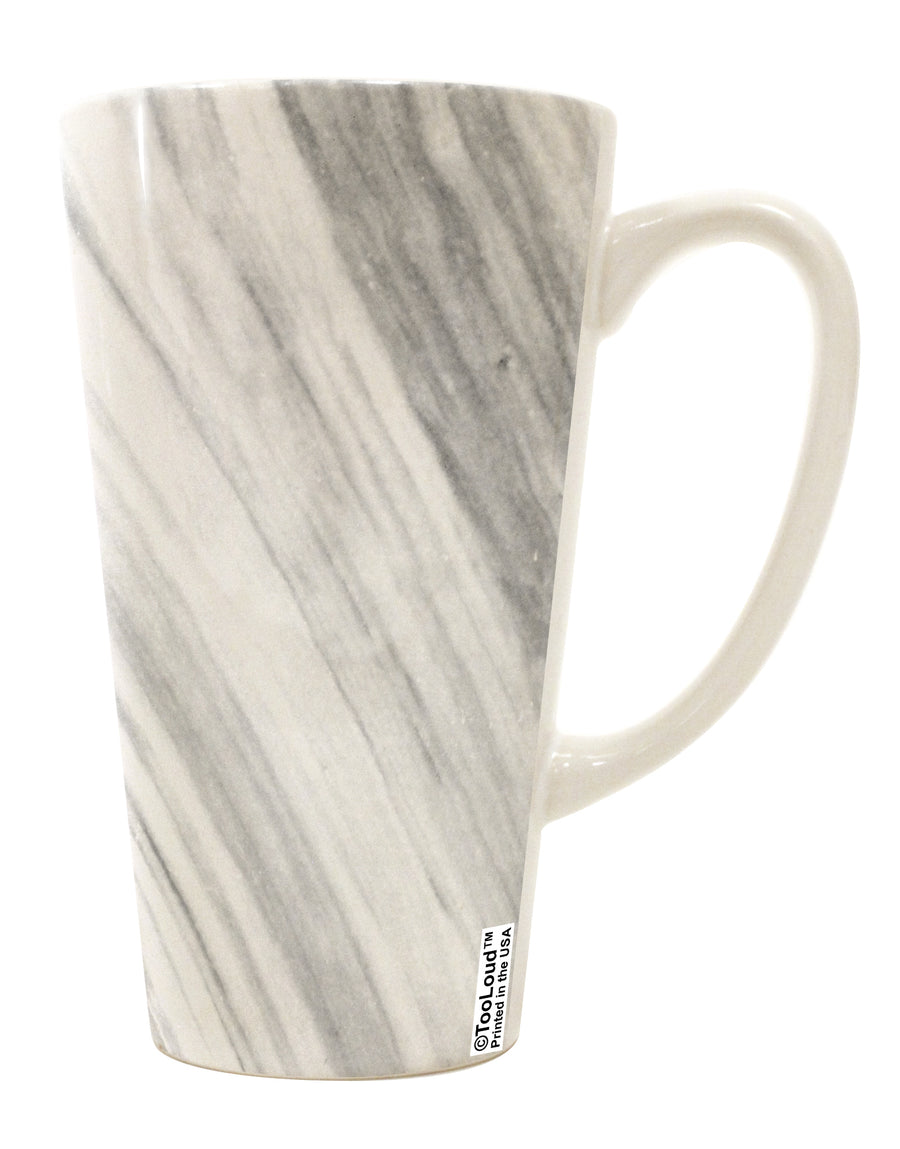 White Marble Pattern 16 Ounce Conical Latte Coffee Mug All Over Print by TooLoud