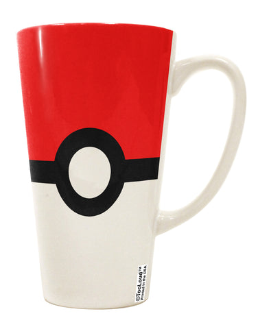 Sporty Red and White Circle 16 Ounce Conical Latte Coffee Mug All Over Print
