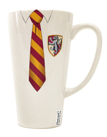 TooLoud Wizard Uniform Red and Yellow 16 Ounce Conical Latte Coffee Mug All Over Print