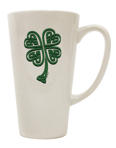 3D Style Celtic Knot 4 Leaf Clover 16 Ounce Conical Latte Coffee Mug