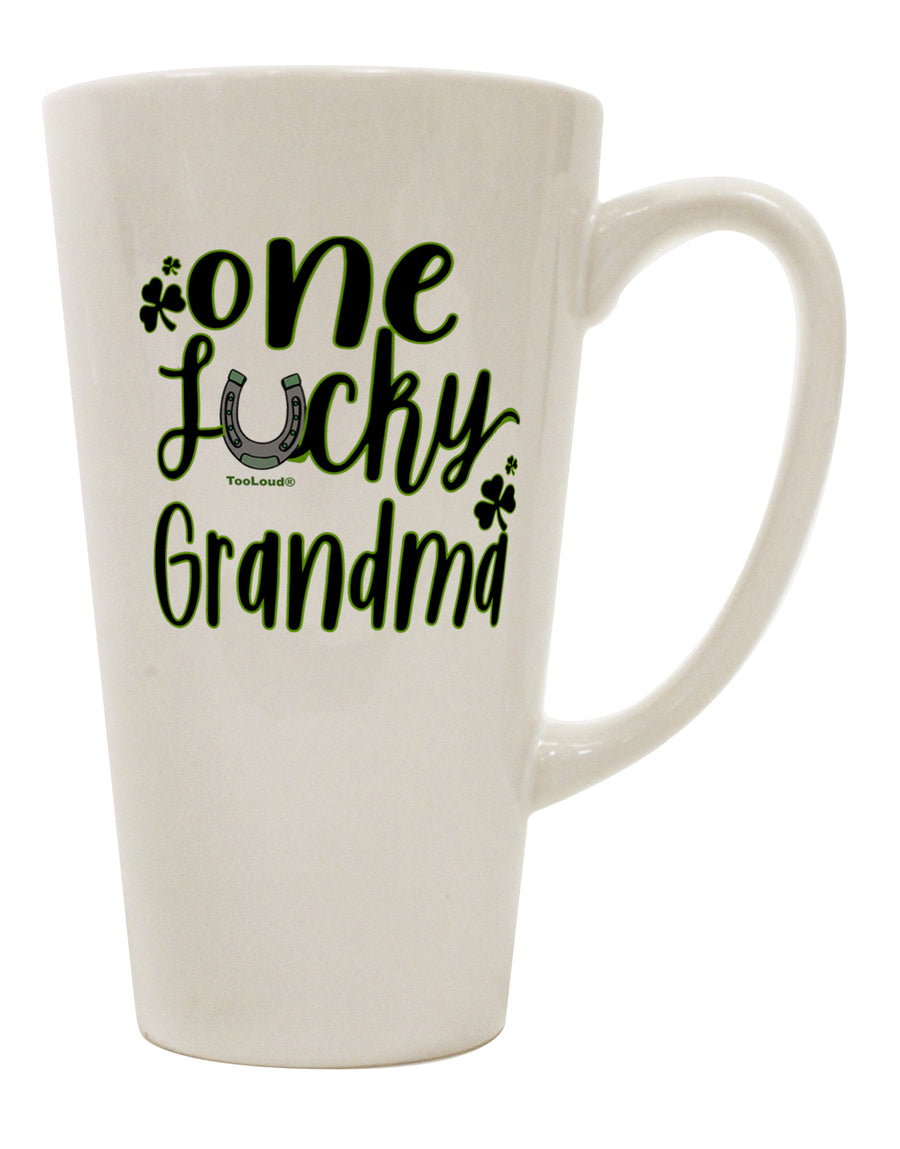 TooLoud One Lucky Grandma Shamrock 16 Ounce Conical Latte Coffee Mug