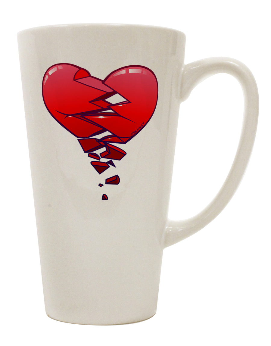 Crumbling Broken Heart 16 Ounce Conical Latte Coffee Mug by TooLoud