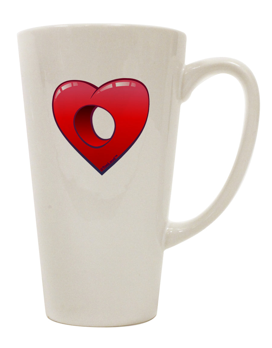 Hole Heartedly Broken Heart 16 Ounce Conical Latte Coffee Mug by TooLoud