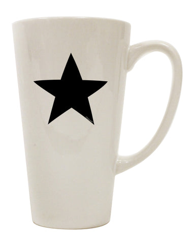 TooLoud Black Star 16 Ounce Conical Latte Coffee Mug