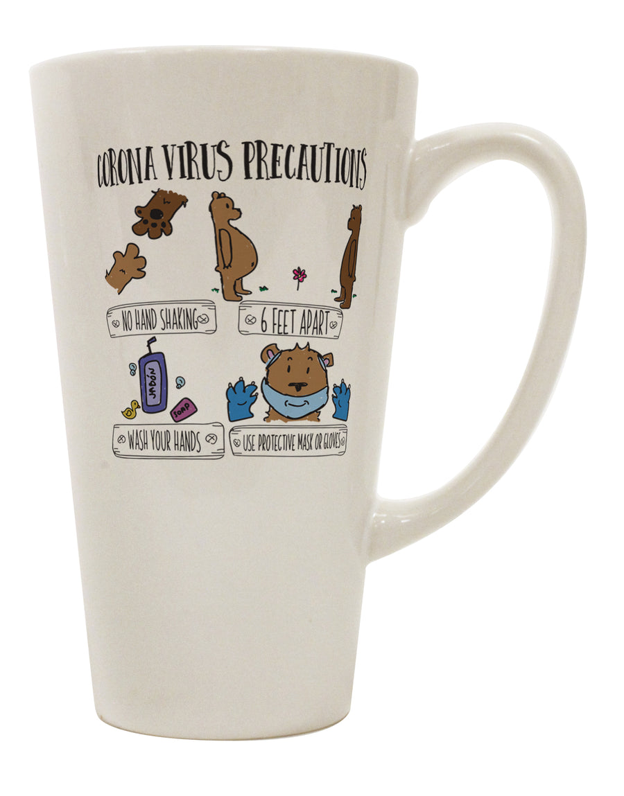 TooLoud Corona Virus Precautions  16 Ounce Conical Latte Coffee Mug