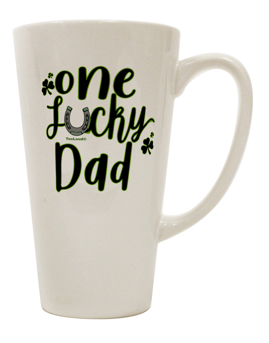 TooLoud One Lucky Dad Shamrock 16 Ounce Conical Latte Coffee Mug