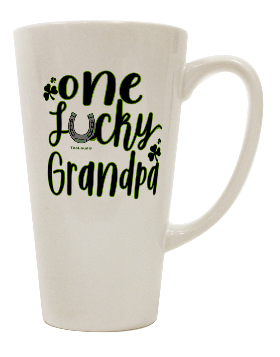 TooLoud One Lucky Grandpa Shamrock 16 Ounce Conical Latte Coffee Mug