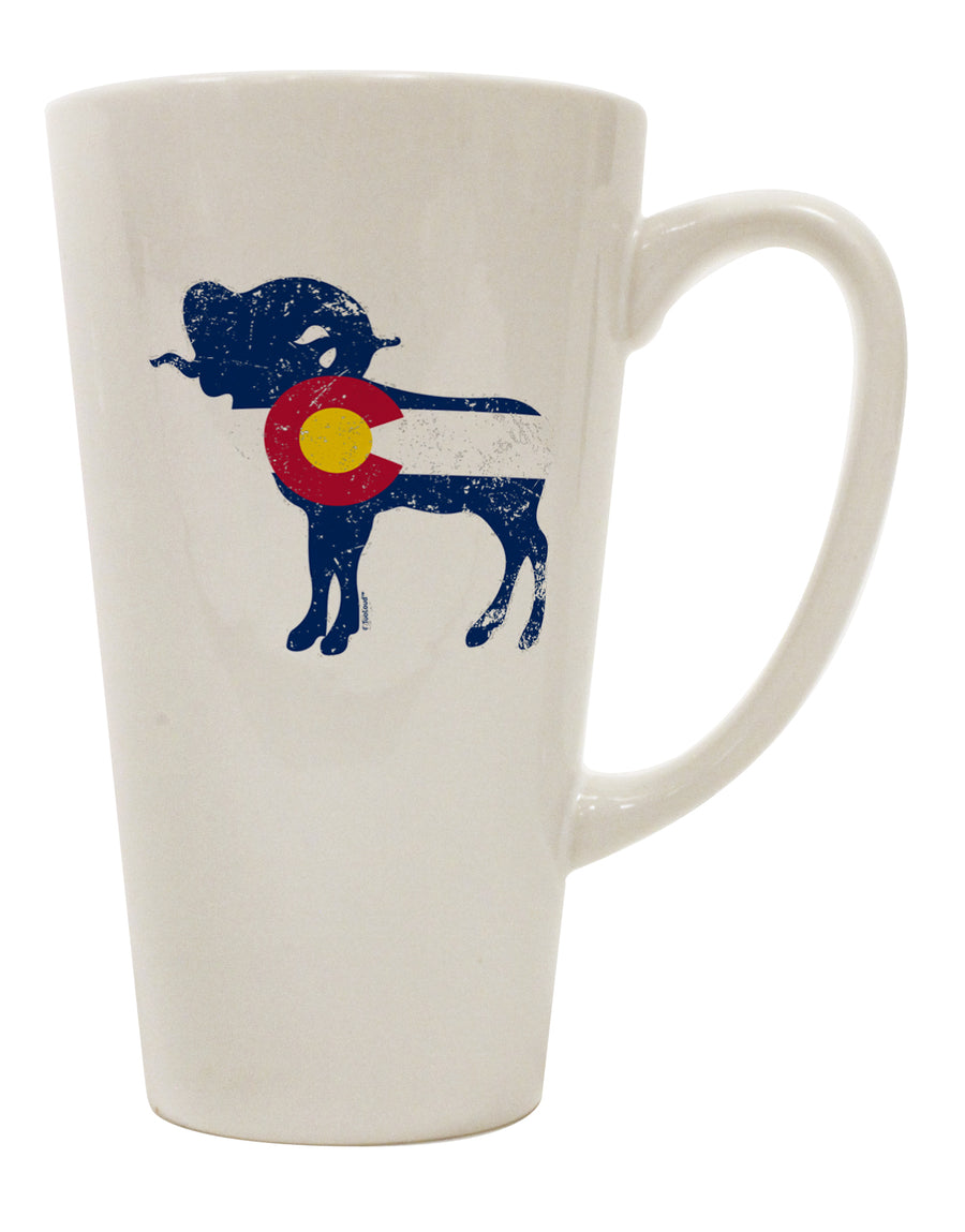 TooLoud Grunge Rocky Mountain Bighorn Sheep Flag 16 Ounce Conical Latt