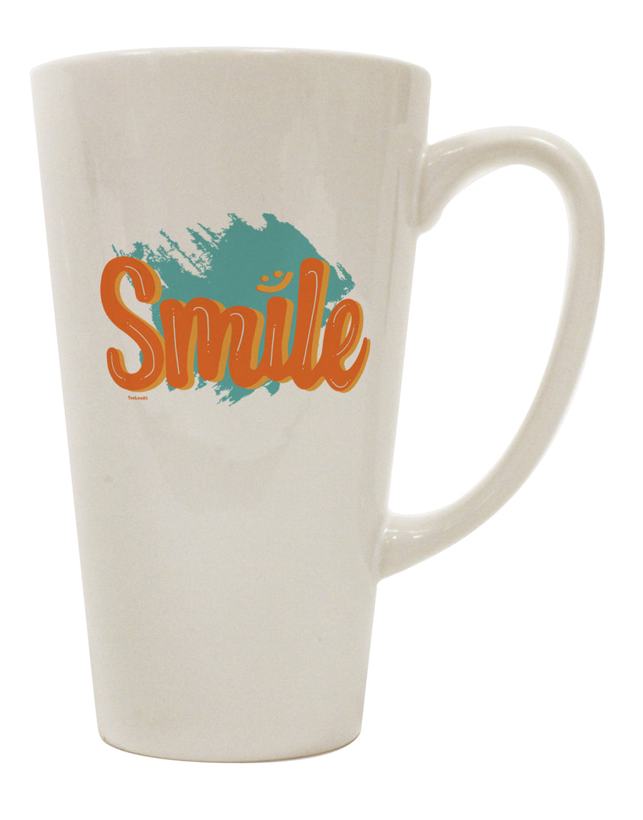 TooLoud Smile 16 Ounce Conical Latte Coffee Mug