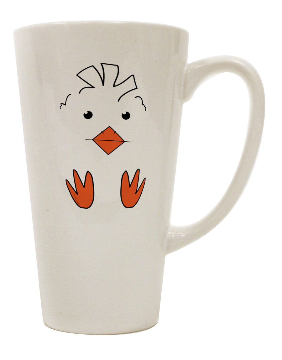 TooLoud Cute Easter Chick Face 16 Ounce Conical Latte Coffee Mug