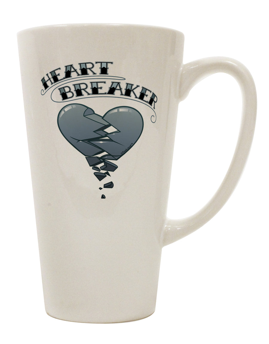 Heart Breaker Manly 16 Ounce Conical Latte Coffee Mug by TooLoud