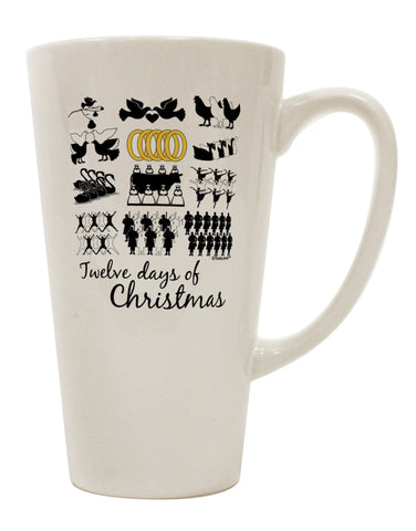 12 Days of Christmas Text Color 16 Ounce Conical Latte Coffee Mug