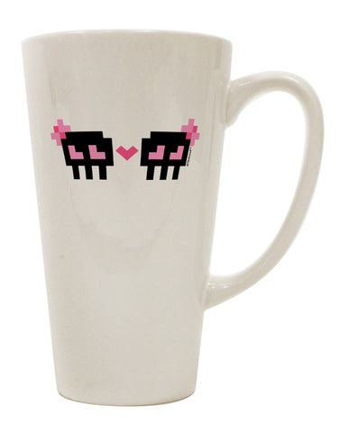 8-Bit Skull Love - Girl and Girl 16 Ounce Conical Latte Coffee Mug