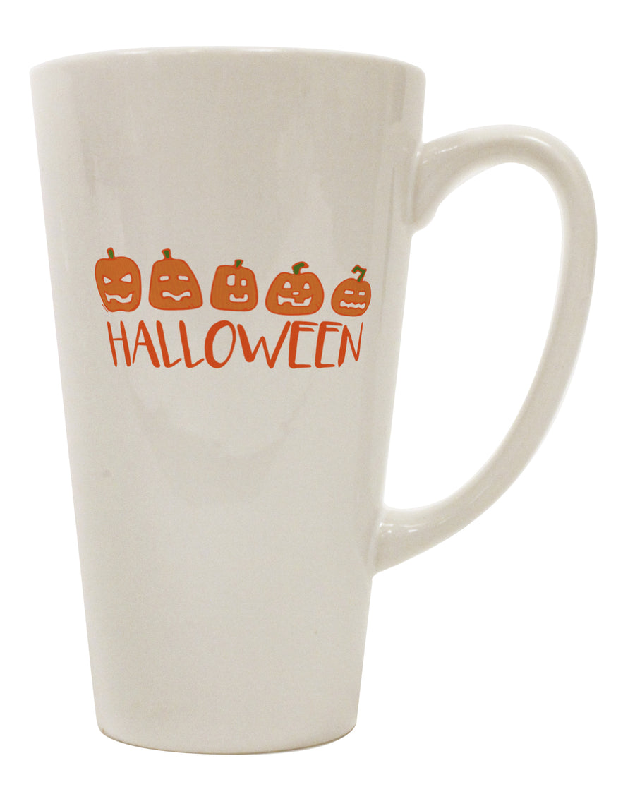 TooLoud Halloween Pumpkins 16 Ounce Conical Latte Coffee Mug