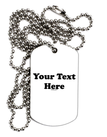 Enter Your Own Words Customized Text Adult Dog Tag Chain Necklace