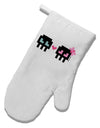 8-Bit Skull Love - Boy and Girl White Printed Fabric Oven Mitt