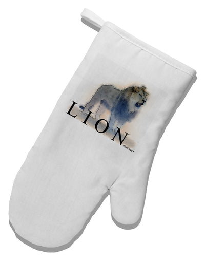 Lion Watercolor B Text White Printed Fabric Oven Mitt