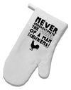 A Man With Chickens White Printed Fabric Oven Mitt by TooLoud