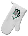 Virgo Symbol White Printed Fabric Oven Mitt