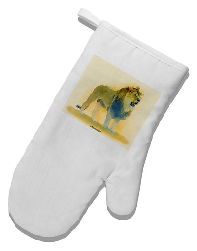 Lion Watercolor 1 White Printed Fabric Oven Mitt