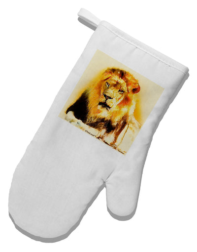 Lion Watercolor 4 White Printed Fabric Oven Mitt