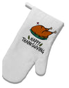 TooLoud Happy Thanksgiving White Printed Fabric Oven Mitt