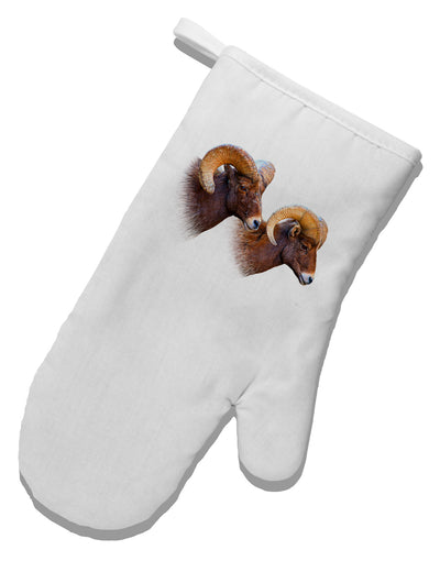 Two Majestic Bighorn Rams White Printed Fabric Oven Mitt
