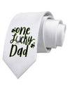 One Lucky Dad Shamrock Printed White Neck Tie Tooloud