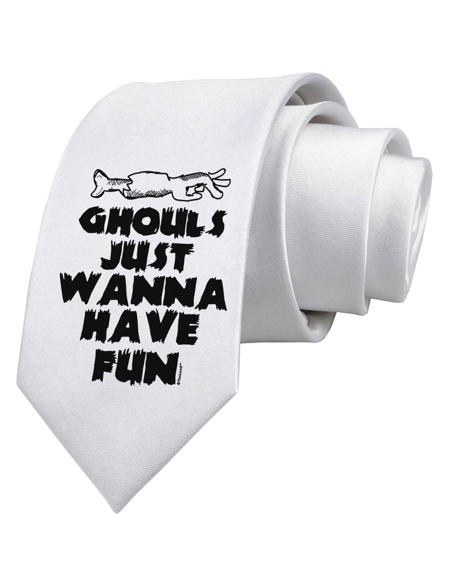 Ghouls Just Wanna Have Fun Printed White Neck Tie Tooloud