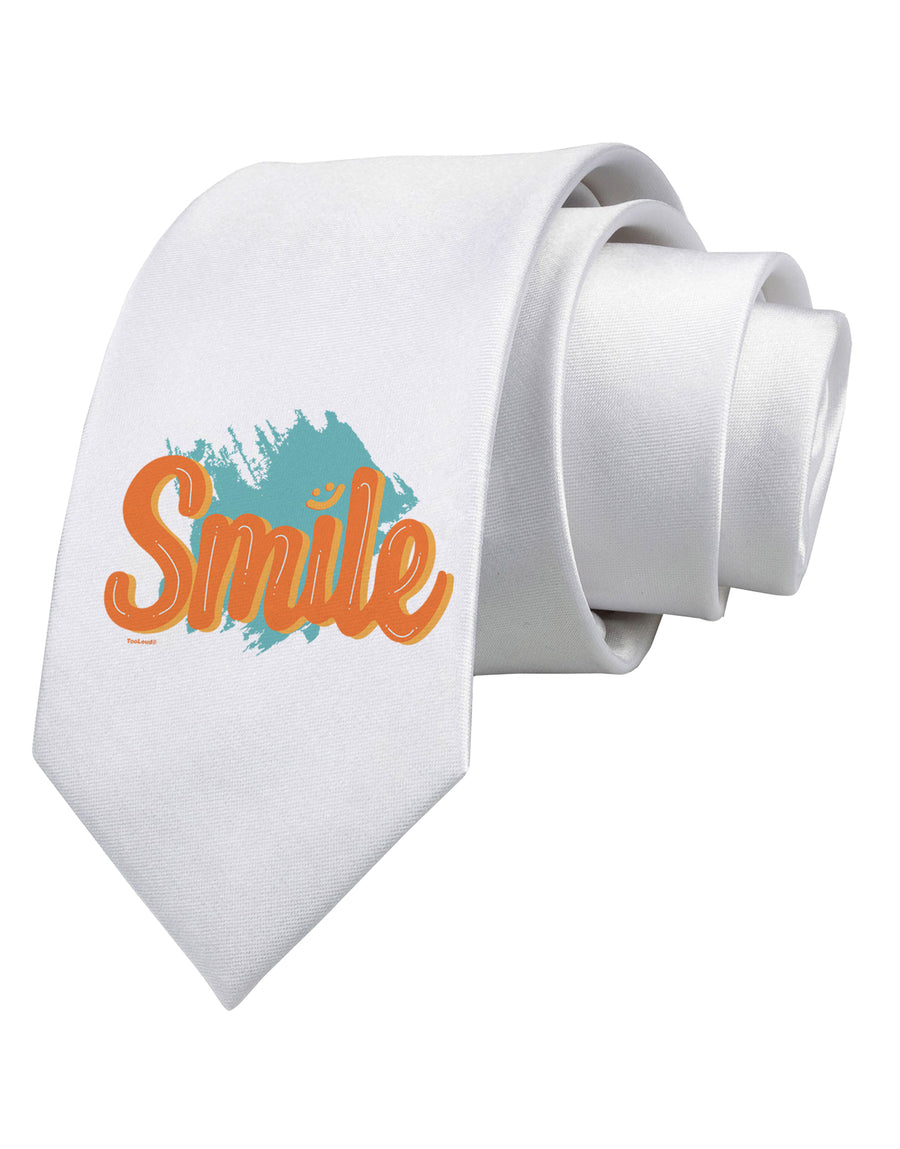 Smile Printed White Neck Tie Tooloud