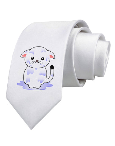 TooLoud Wet Pussycat Printed White Neck Tie